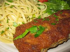 fish(0.0), vegetarian food(0.0), pork chop(0.0), produce(0.0), meat chop(0.0), meal(1.0), steak(1.0), fried food(1.0), cutlet(1.0), schnitzel(1.0), food(1.0), dish(1.0), cuisine(1.0),