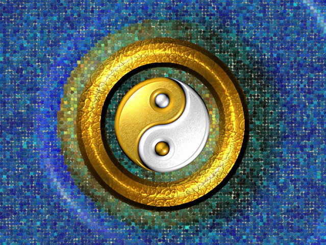Yin-Yang Golden Ring and Blue Mosaic - computer generated image