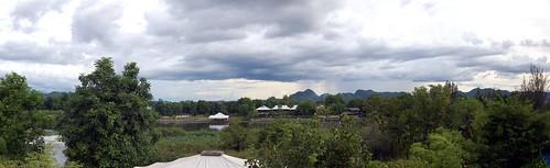 panorama rain clouds river thailand karst riverkwai