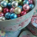 Christmas Baubles Stored in Vintage Hat Box