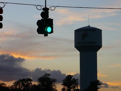 city light sunset plant tower water traffic fl
