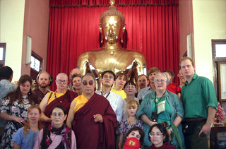His Holiness Dagchen Rinpoche and his wife, son, sangha, on pilgrimage, Bangkok, Thailand