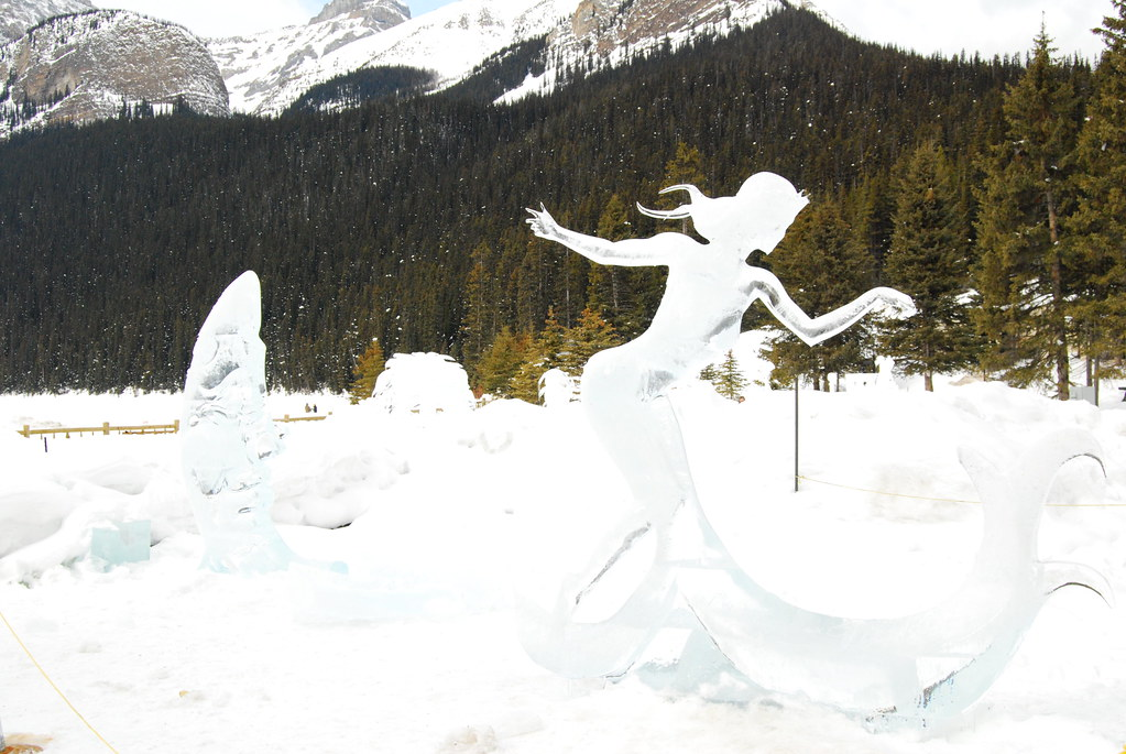 Ice sculpture at a festival in Lake Louise