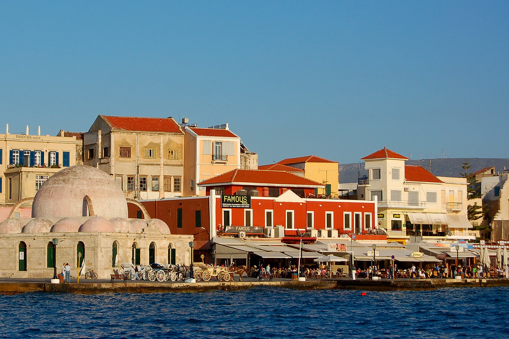 Waterfront along the Venetian Harbor of Chania on the Greek island of Crete