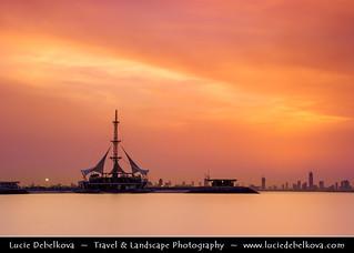 Kuwait - Kuwait City - Sunset over Marina Waves at Salmiya