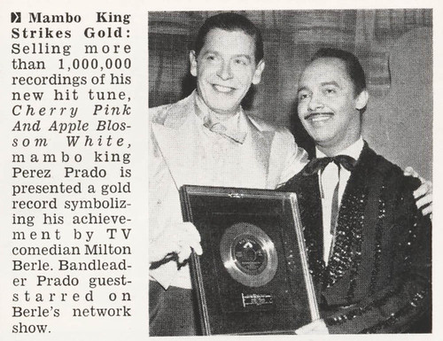 Mambo King Perez Prado with Milton Berle - Jet Magazine June 16, 1955