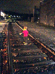 killing time on the cold, rainy railroad tracks whil…