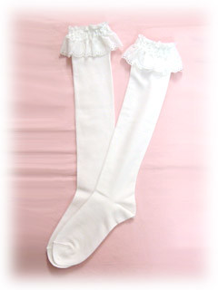 Baby the Stars Shine Bright Cotton Lace Knee Length Socks (white)