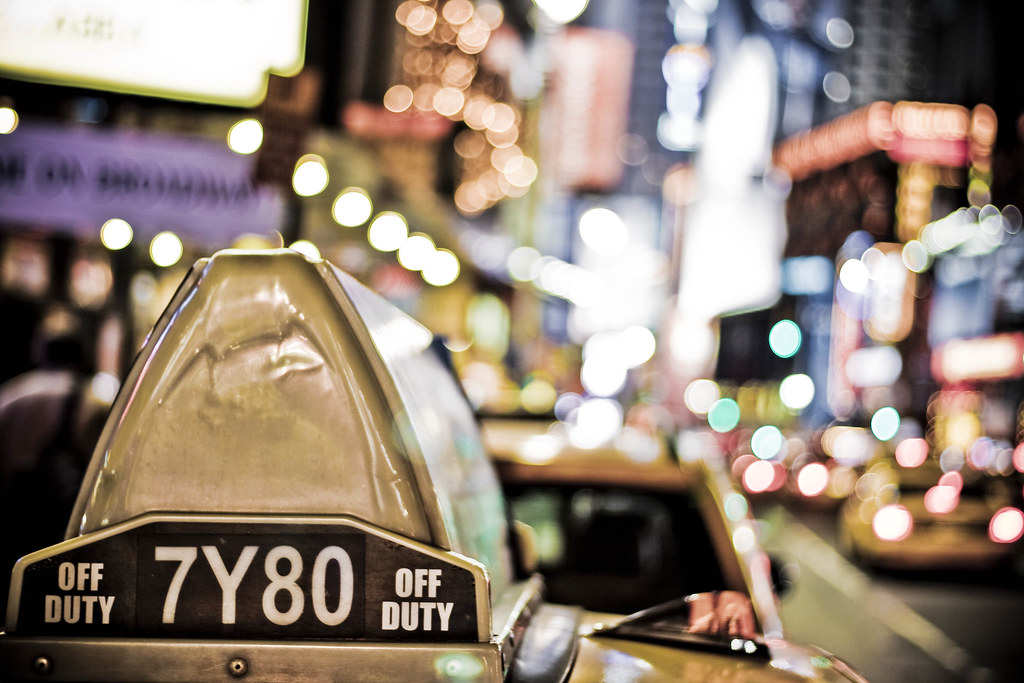 Taxi light in colors, Times Square @ New York City, USA