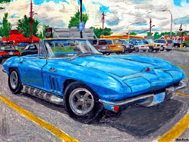 An oil pastel drawing of a mid-1960's Corvette Stingray convertible.
