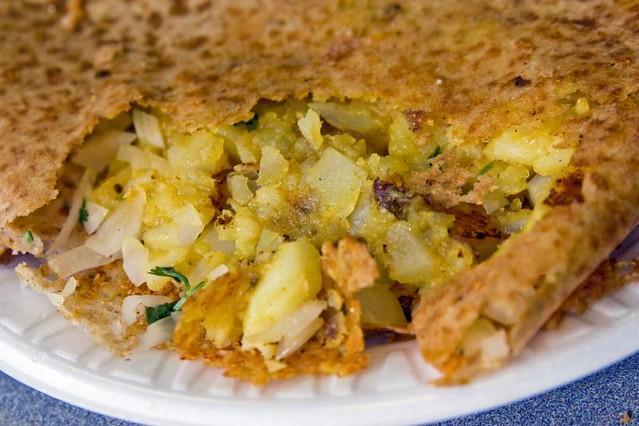 onion rava mysore masala dosa innards