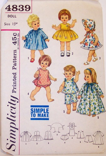Vintage Simplicity 4839 15 Inch Doll Clothing Pattern Chatty Baby Suzie Sunshine Belle Telle Dress Hat Pajamas PJS Robe Housecoat