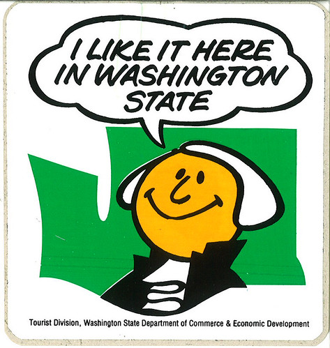 I Like It Here in Washington State sticker, circa 1980s