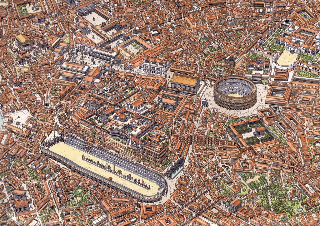 Vue du centre de Rome : Capitole, forum Romain, impériaux, Colisée, Palatin et Circus Maximus - Illustration de Gilles Chaillet