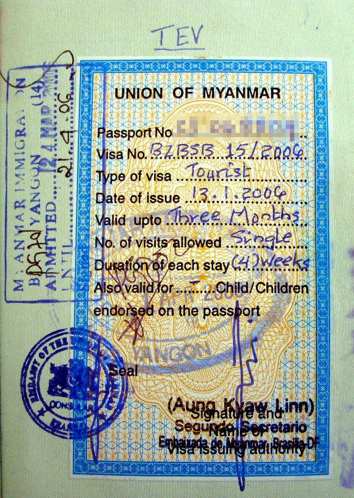 Myanmar (Burma): visa and stamps