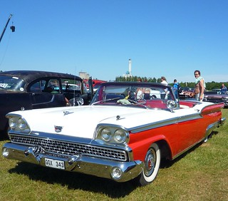 1959 Red & White convertible Ford Galaxie Skyliner