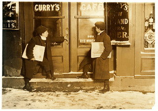 Lewis Hine: Joseph Bishop and brother, newsboys, Hartford, Connecticut, 1909