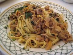 vegetable(0.0), spaghetti alle vongole(0.0), vegetarian food(0.0), bucatini(0.0), spaghetti(0.0), produce(0.0), pasta(1.0), clam sauce(1.0), spaghetti aglio e olio(1.0), linguine(1.0), fettuccine(1.0), food(1.0), dish(1.0), carbonara(1.0), cuisine(1.0),