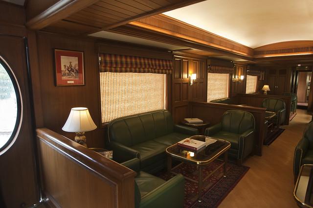 Rajah Club. Lounge Bar aboard Maharajas Express