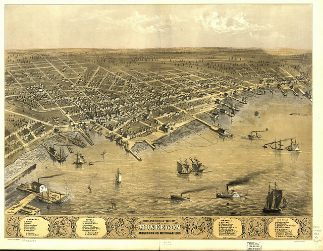 Bird 39 S Eye View Of Muskegon 1868 Flickr Photo Sharing
