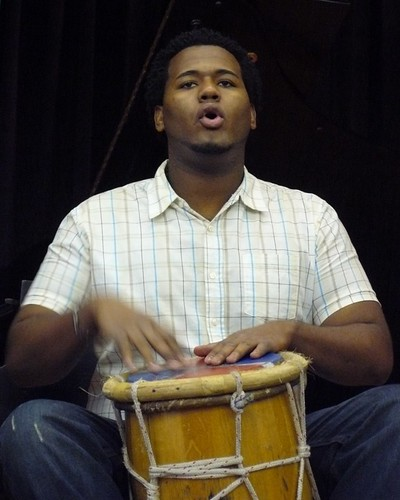Dominican Drummer Performing a 'Congo'