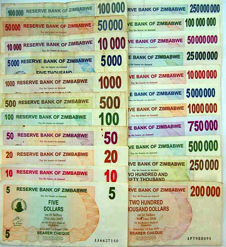 Hyperinflation: bearer cheques printed in Zimbabwe