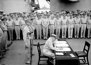 Allied Commander during formal surrender ceremonies on the USS MISSOURI
