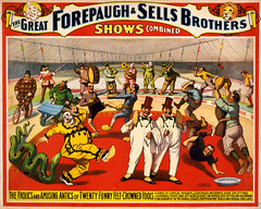 Twenty funny felt-crowned fools, poster for Forepaugh & Sells Brothers, ca. 1899