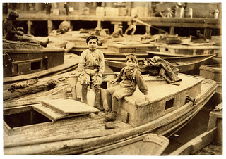 Lewis Hine: Fisher boys playing truant, Boston, 1909