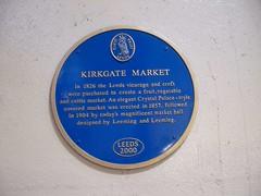 Photo of Kirkgate Market, Leeds, John Leeming, and Joseph Leeming blue plaque