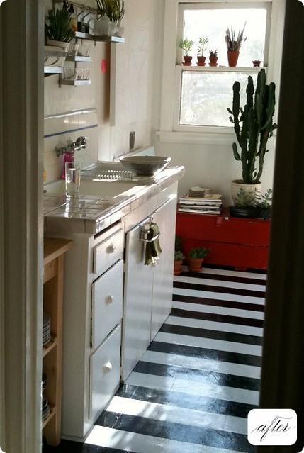 Kitchen black and white linoleum striped floor flickr for Black lino kitchen flooring