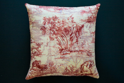Handmade decorative pillow from found toile fabric ...