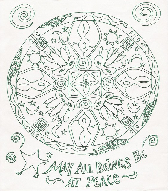 Free coloring pages of mandala peace for Peace sign mandala coloring pages