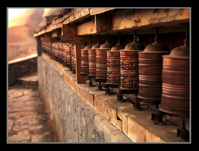 Prayer Wheels at Dusk by Michael Anderson