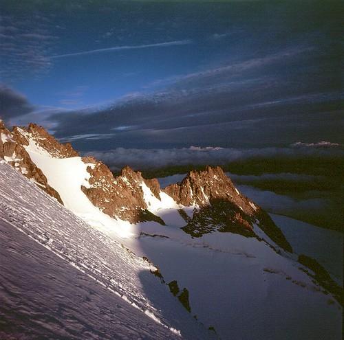 snow west face weather sunrise dawn tour north bad glacier ridge hasselblad le slope steep buttress swc 38mm aiguille chardonnet eperon migot