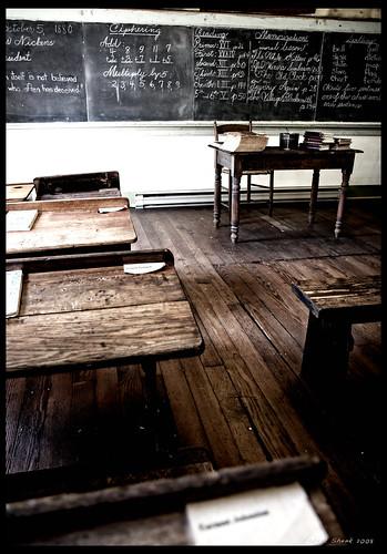 school students virginia room learning blackboard waterford desks schoolroom