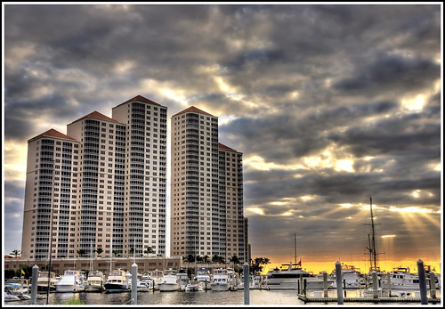 sunset sun clouds marina docks boats downtown flor palmtrees yachts sailboats cloudcover hdr centennialpark caloosahatcheeriver d90 photomatix boatslips okeechobeewaterway nikkor18200mmvr downtownfortmyers nikond90 highrisecondos