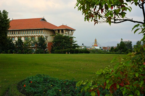 In the old Nepal style, across the garden, view of Boudha Stupa upon arrival at the Hyatt Regency Boudha, Kathmandu, Nepal by Wonderlane