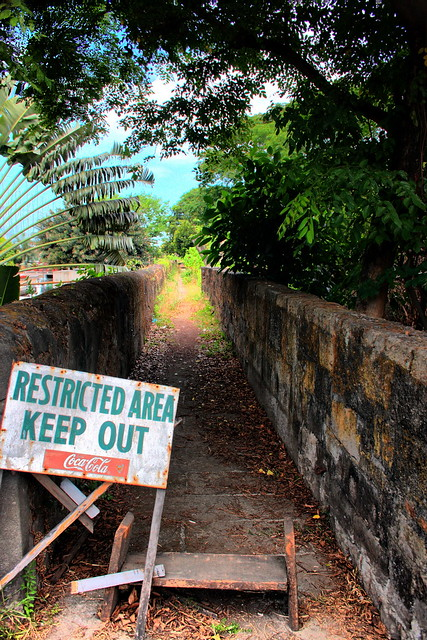 Restricted area Keep out. Sign at Fort Santiago