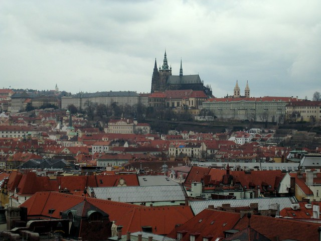 Pražský hrad (Prague Castle) and the Katedrála svatého Víta (St Vitus Cathedral) from the Orloj