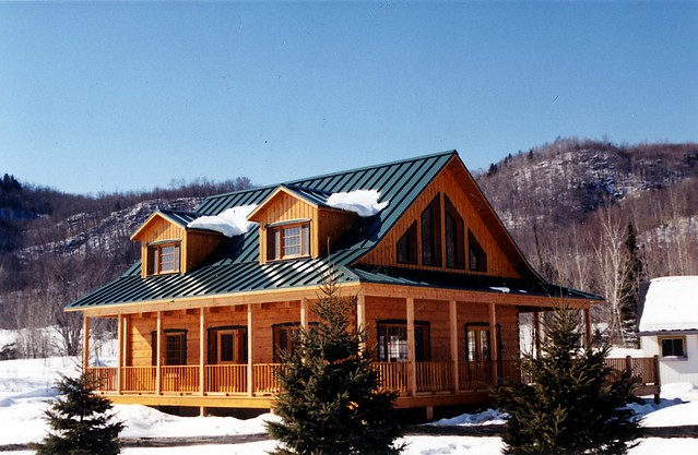 Metal roof metal roof log home for Tin roof homes