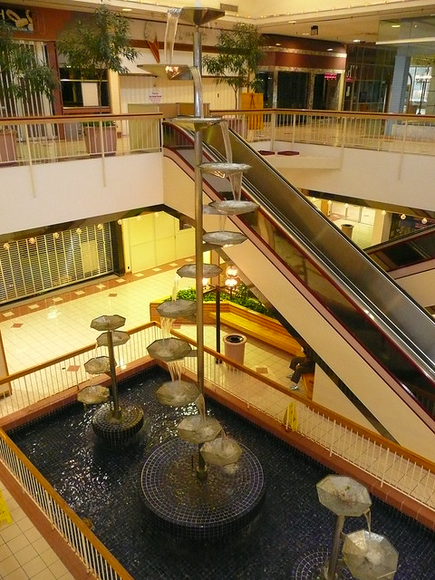 Overland Park, KS Metcalf South Shopping Center (a dead mall) escalators and fountains