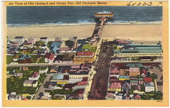 Air view of Old Orchard and Ocean Pier, Old Orchard Beach, Maine