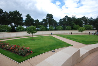 The memorial wall at the American cemetery
