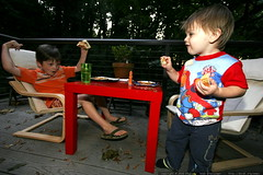 nick and sequoia talking shop out on the back deck, …