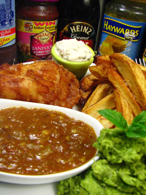 Fish and chips with homemade tartar and curry dipping for Fish and chips sauce