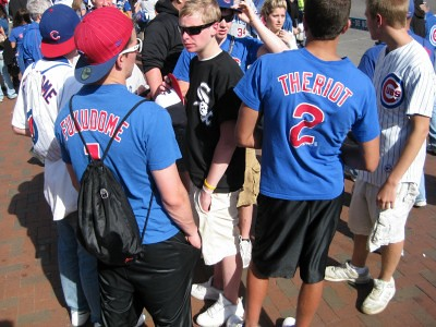 White Sox fan infiltrates Cubbies, Wrigley Field, Chicago from Flickr via Wylio