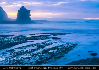 Portugal - Peniche peninsula - Rocky Beach at Dusk - Twilight - Blue Hour - Night