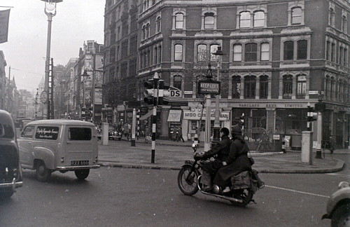 Charing Cross Road at Cambridge Circus, London, 5 November 1955