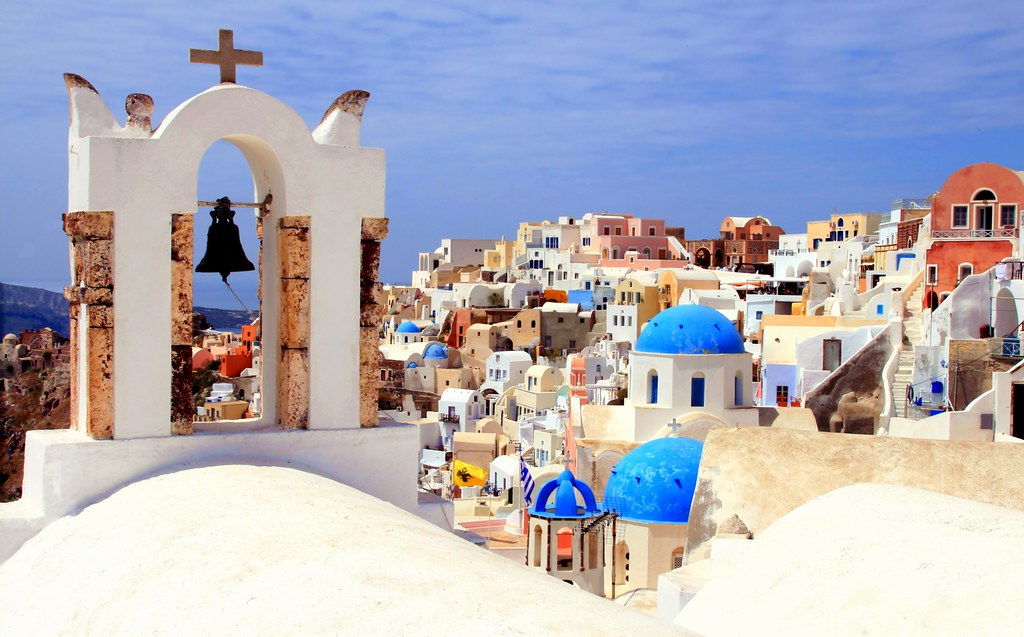 Bell tower and domes, Oia